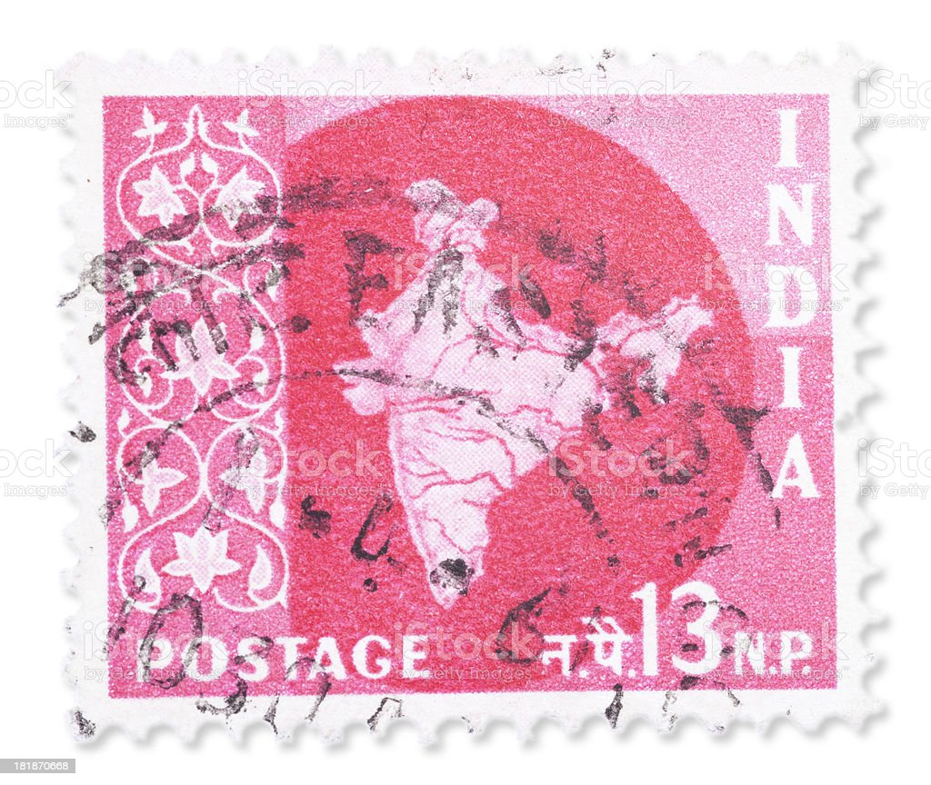 Vintage Indian stamp - National symbols royalty-free stock photo
