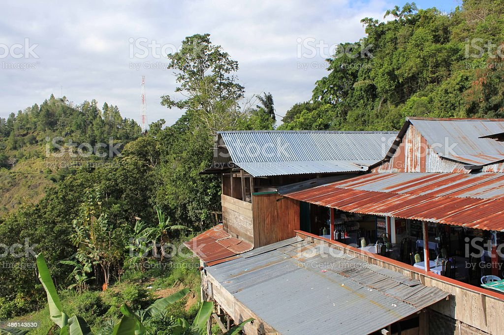 Vintage Indonesian restaurant surrounded by nature stock photo