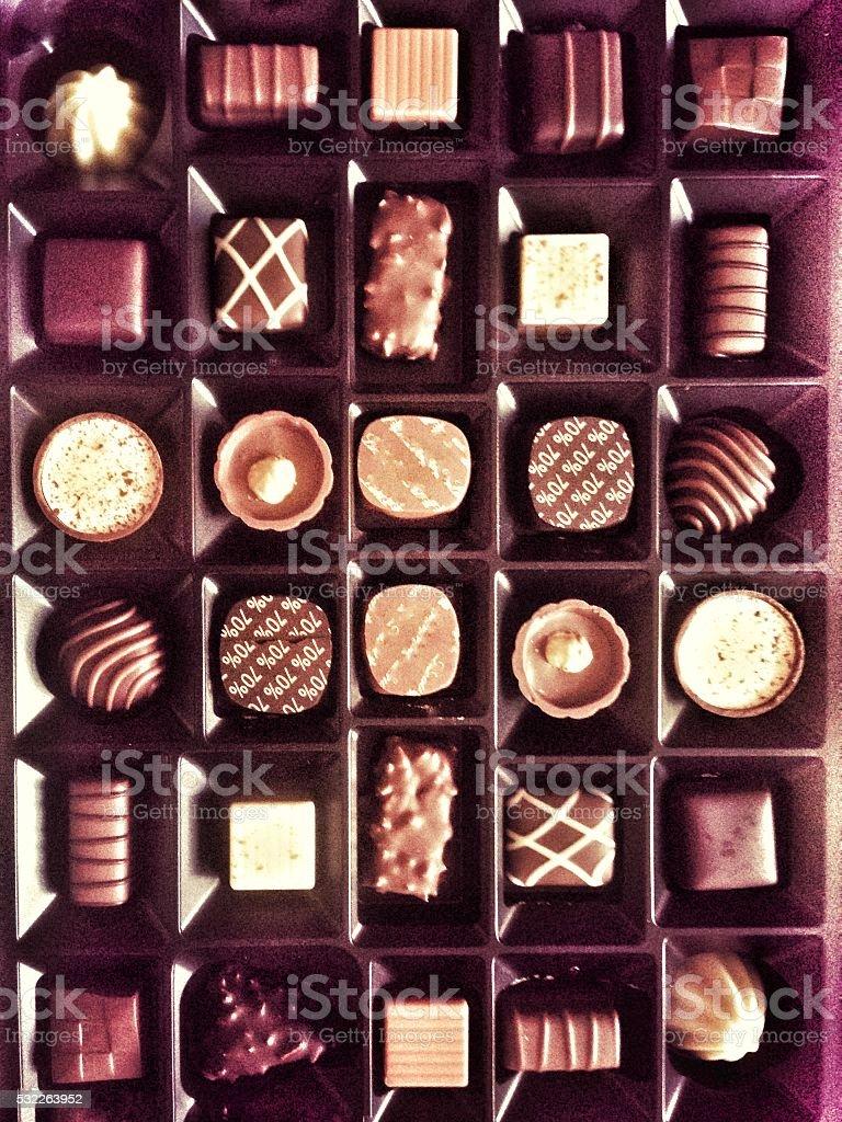 Vintage indulgent chocolate box stock photo
