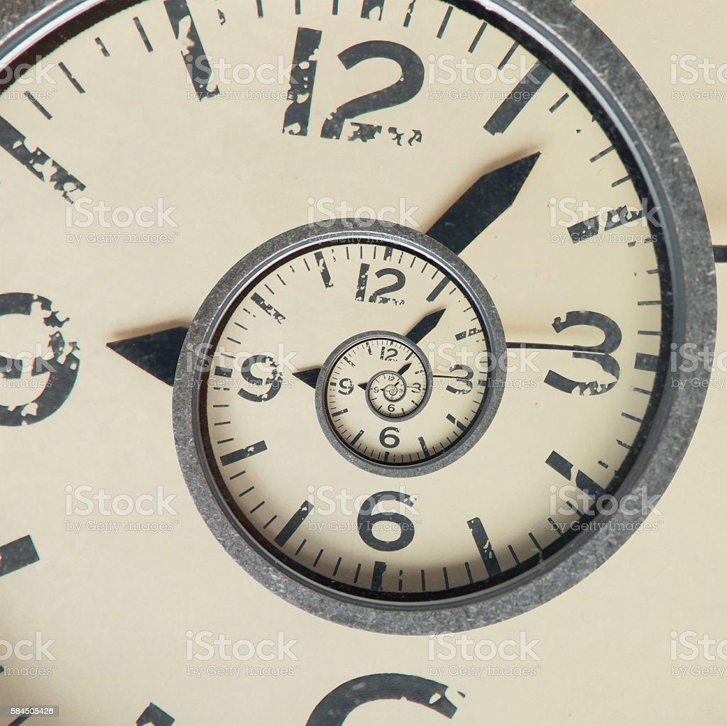 Vintage infinity clock. Time concept. stock photo