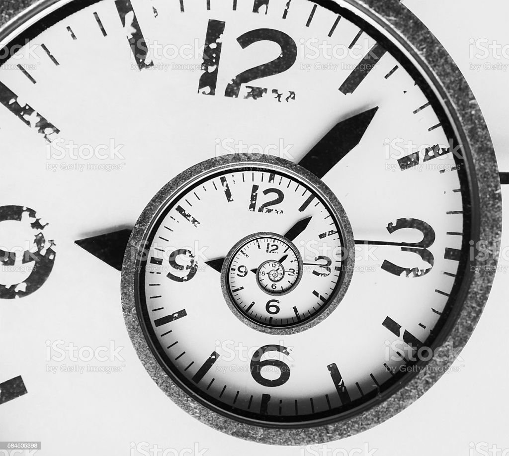 Vintage infinity spiral clock face stock photo