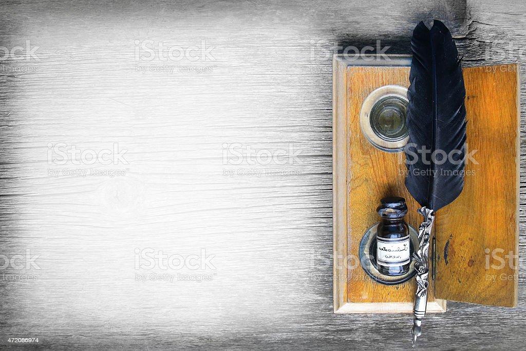 vintage ink writing set stock photo