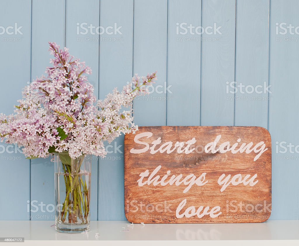 Vintage inspiring poster and bunch of lilac stock photo
