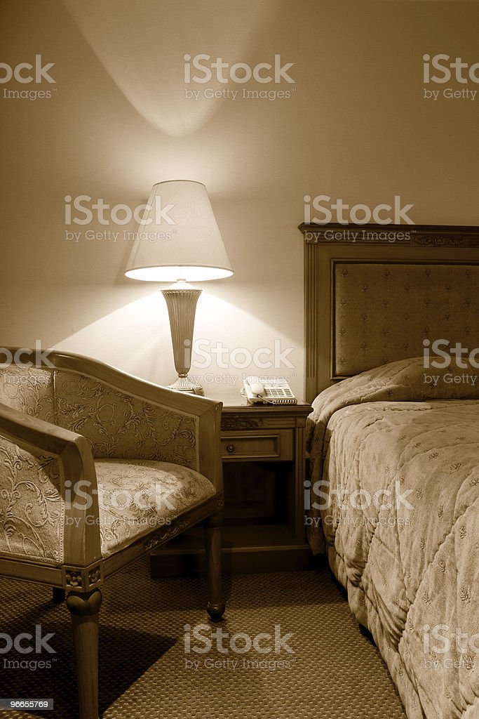 vintage interior of a hotel room royalty-free stock photo
