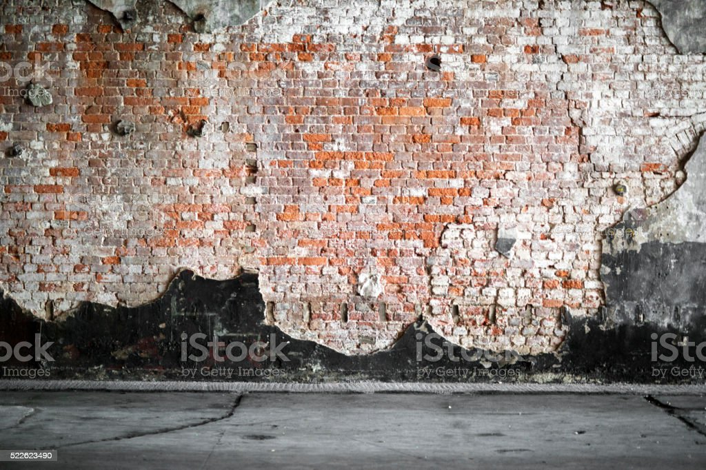 vintage interior with brick wall stock photo