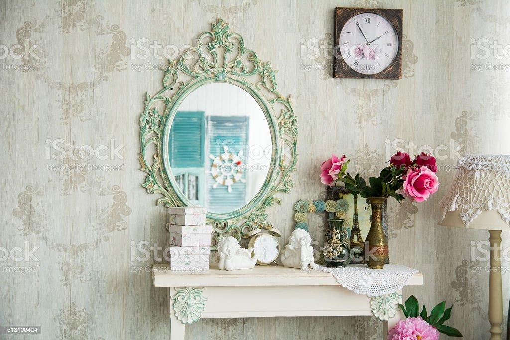 Vintage interior with mirror stock photo