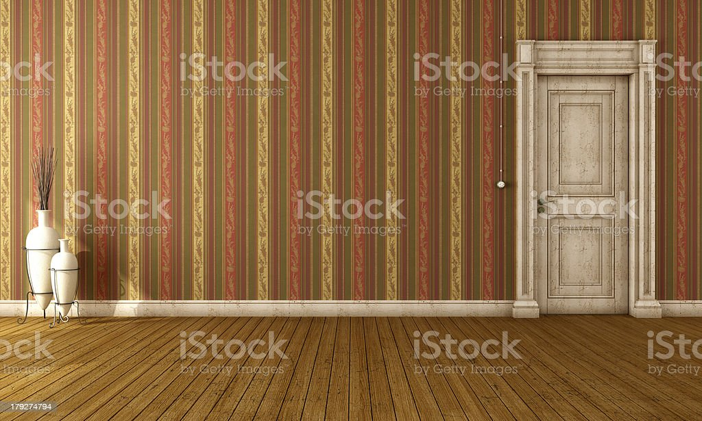 Vintage interior with old door royalty-free stock photo