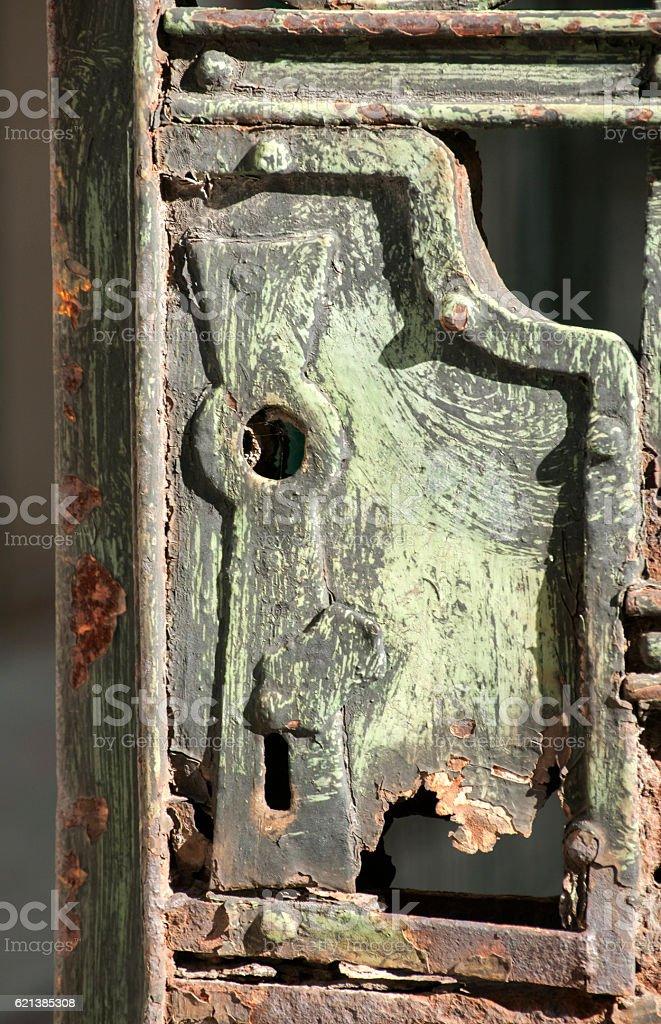 Vintage iron door lock stock photo