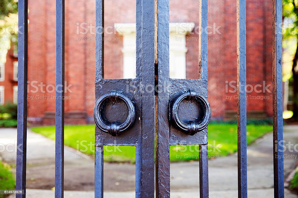 vintage iron gates closeup stock photo