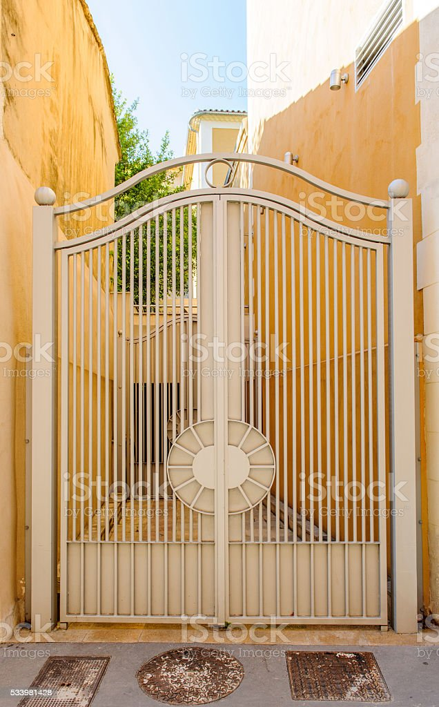 Vintage iron gates of a hous stock photo