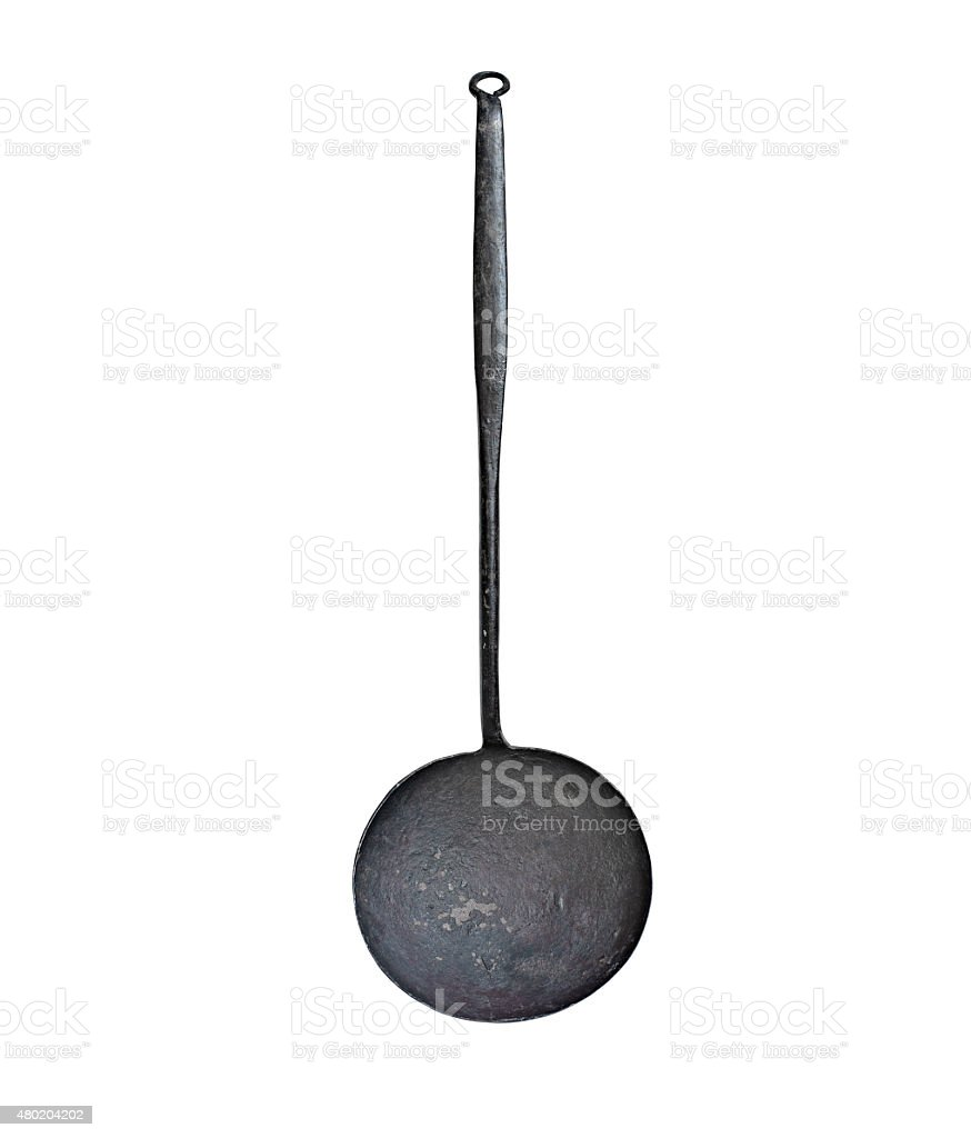 vintage iron ladle stock photo