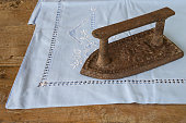 Vintage iron on a serviette