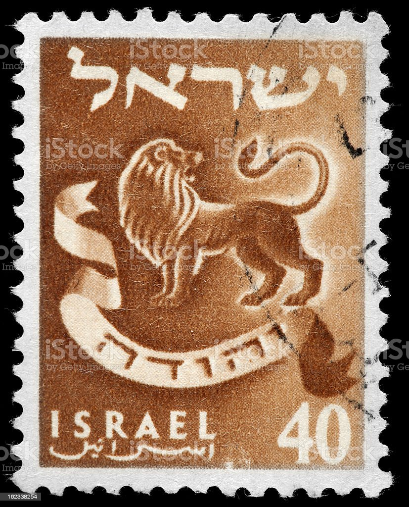 Vintage Israel Postage Stamp, Lion Illustration in Brown vector art illustration