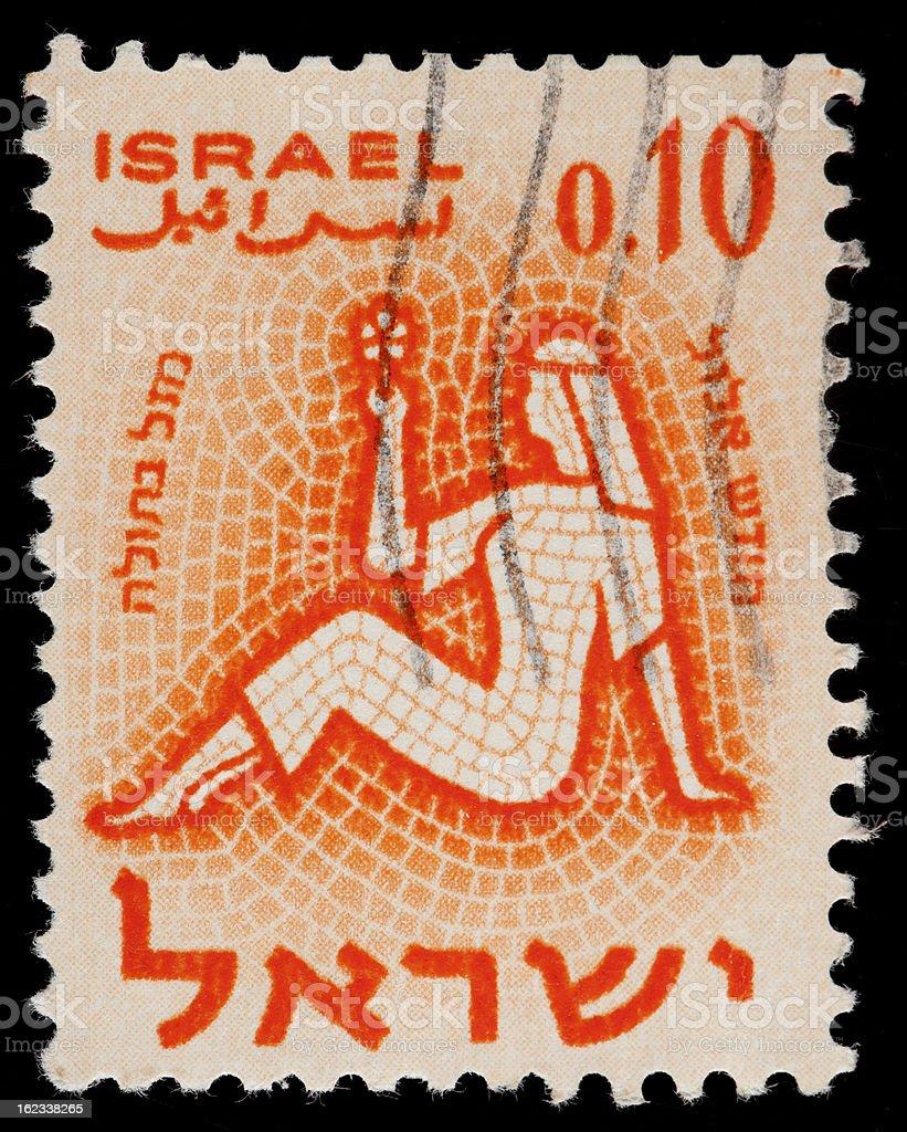 Vintage Israel Postage Stamp, Mosaic Tile Illustration of Israeli Woman vector art illustration