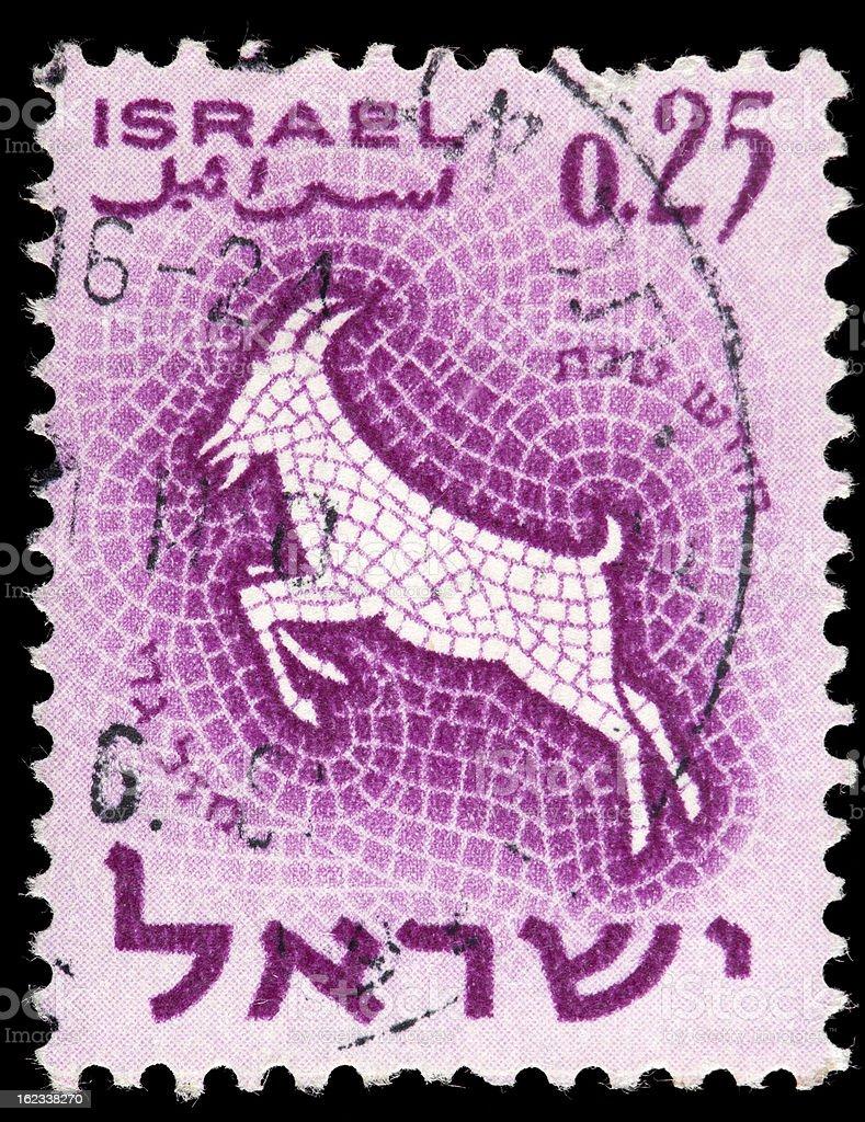 Vintage Israel Postage Stamp, Mosaic Tile Illustration of Ram/Goat vector art illustration