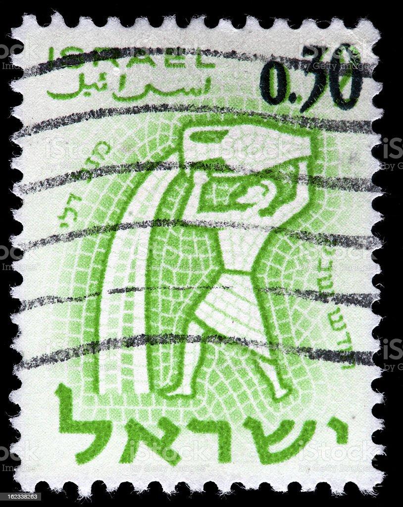 Vintage Israel Postage Stamp, Mosaic Tile Illustration of Water Man vector art illustration