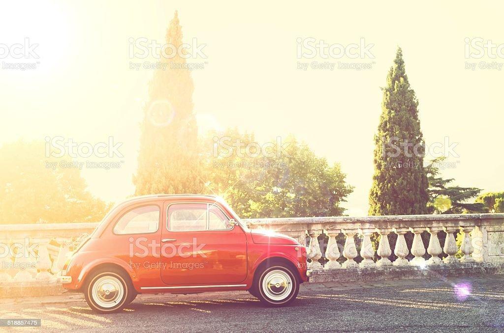 Vintage Italian car in sunbeam stock photo