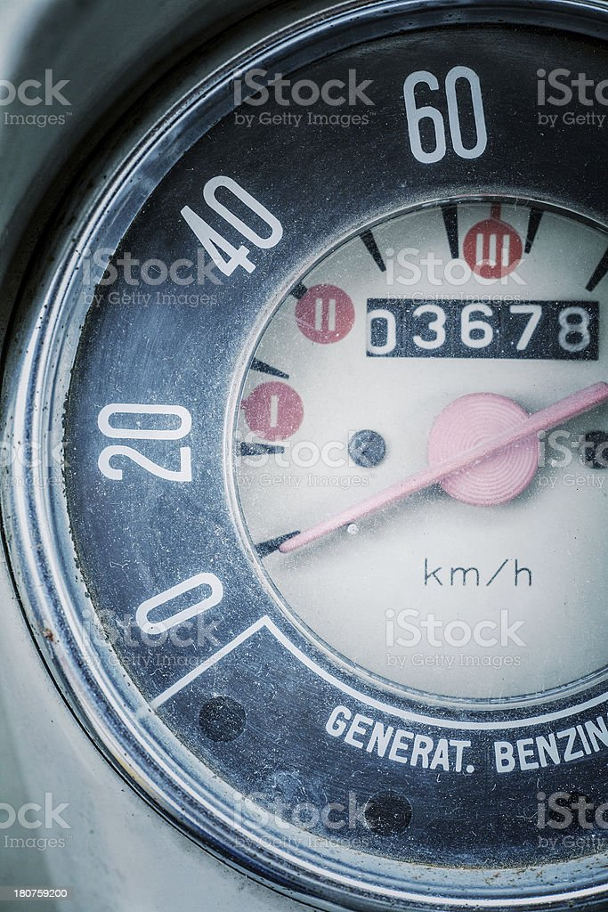 Vintage Italian Car Speedometer and Instrument Panel royalty-free stock photo
