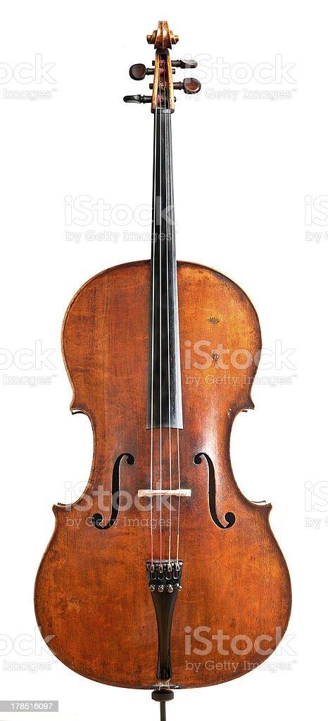Vintage Italian cello on an isolated white background stock photo