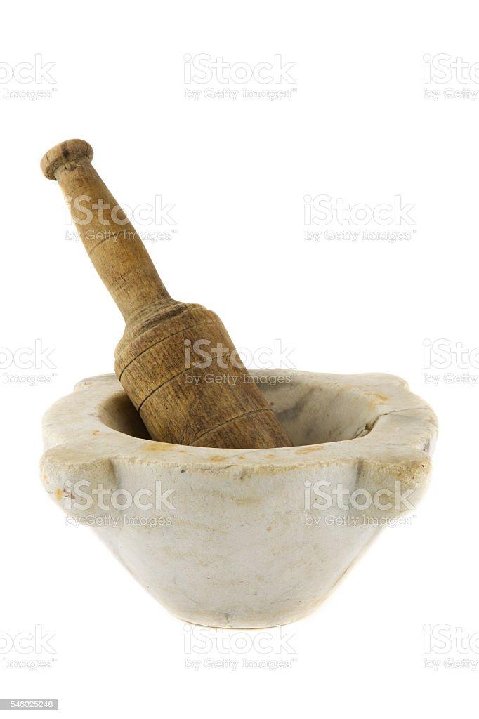 vintage italian marble mortar stock photo