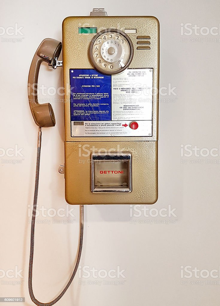 Vintage italian public pay phone stock photo