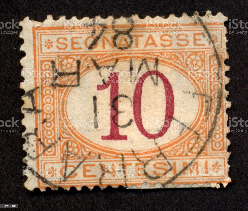 Vintage Italian Stamp 1870, Ephemera. stock photo