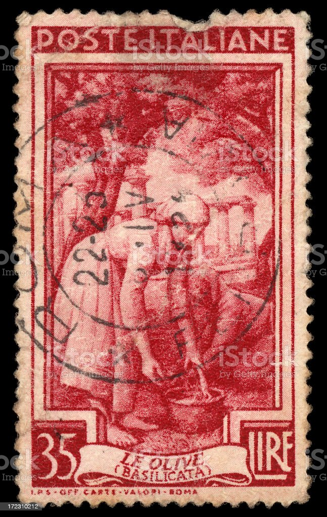 vintage italian stamp royalty-free stock photo