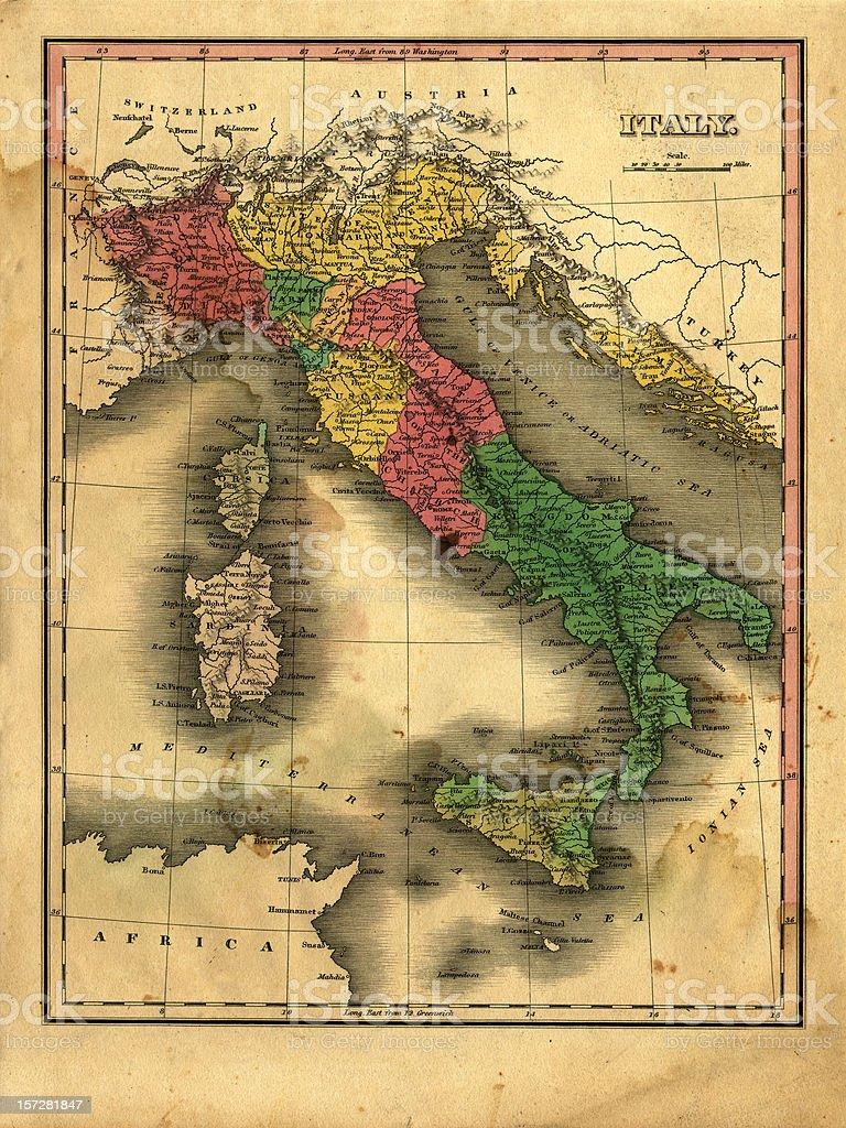 vintage italy map stock photo