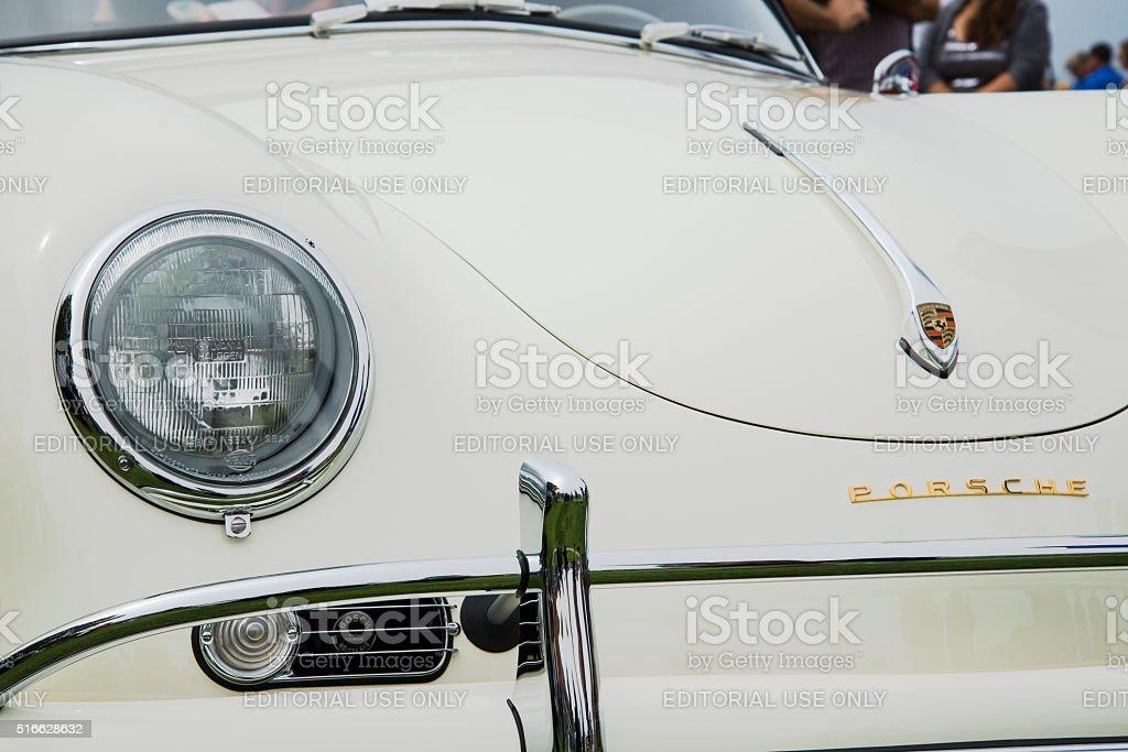 Vintage Ivory Porsche 356A with Bosch Horn Peeking Through Vent stock photo