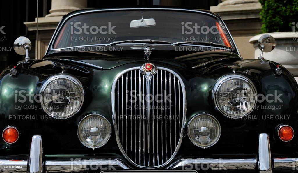 Vintage Jaguar seen on annual meeting of oldtimers stock photo