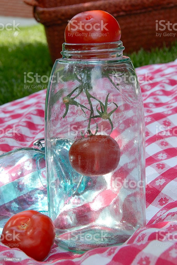 Vintage Jar Antique Table Cloth royalty-free stock photo