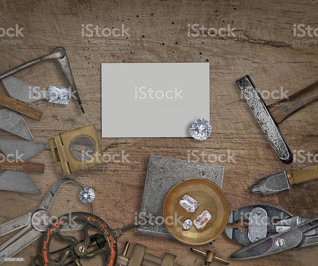 vintage jeweler tools and diamonds stock photo