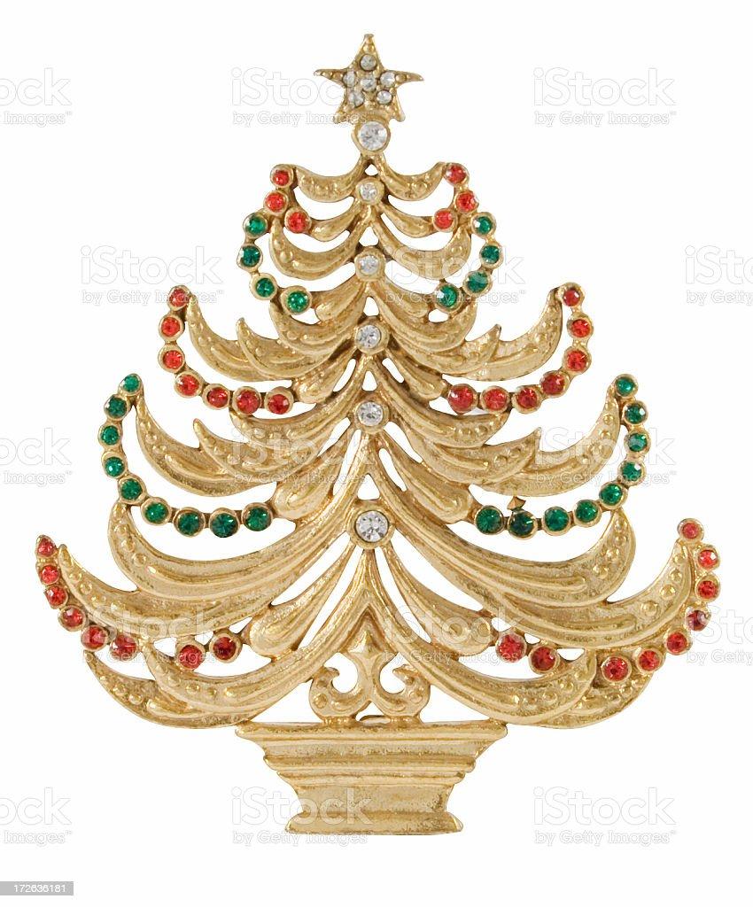 Vintage Jewelry Christmas Tree Pin royalty-free stock photo