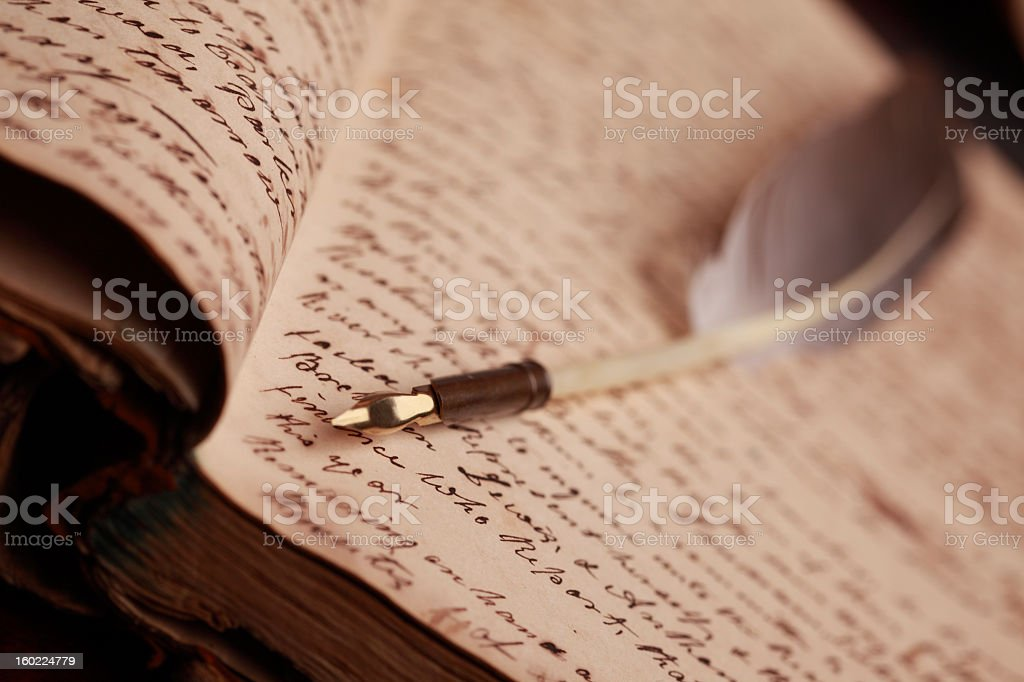 Vintage Journal and Quill Pen royalty-free stock photo
