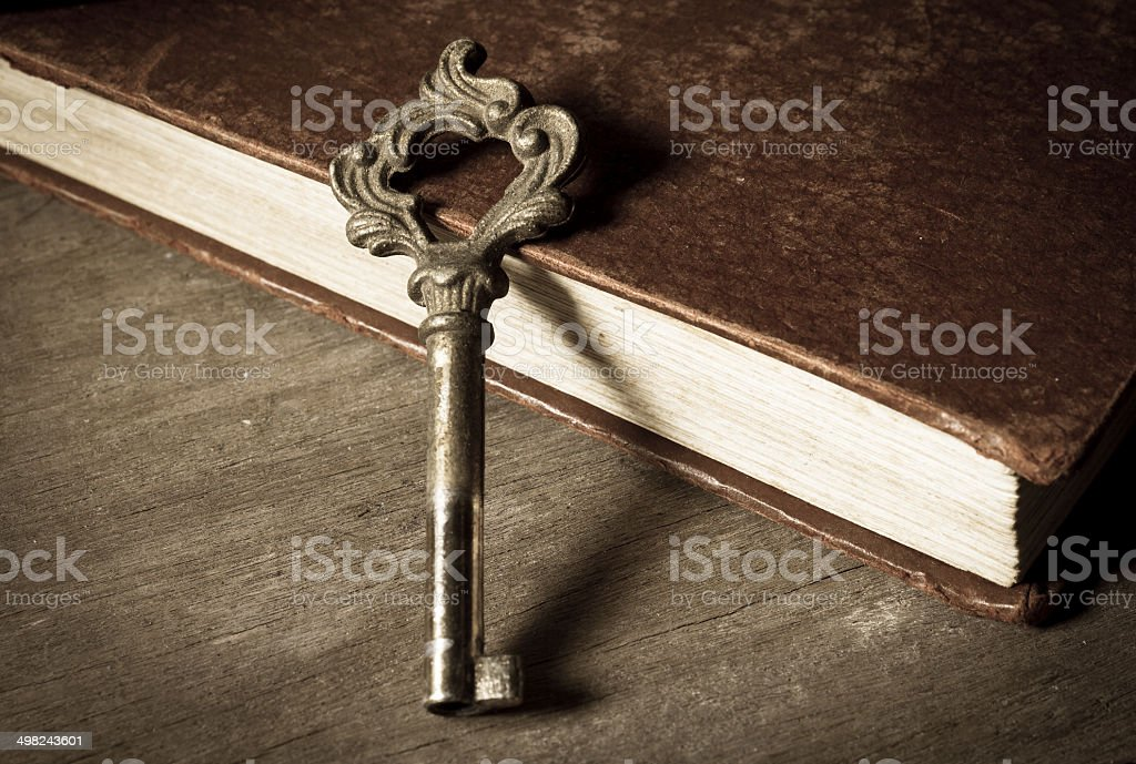 Vintage key on old book royalty-free stock photo