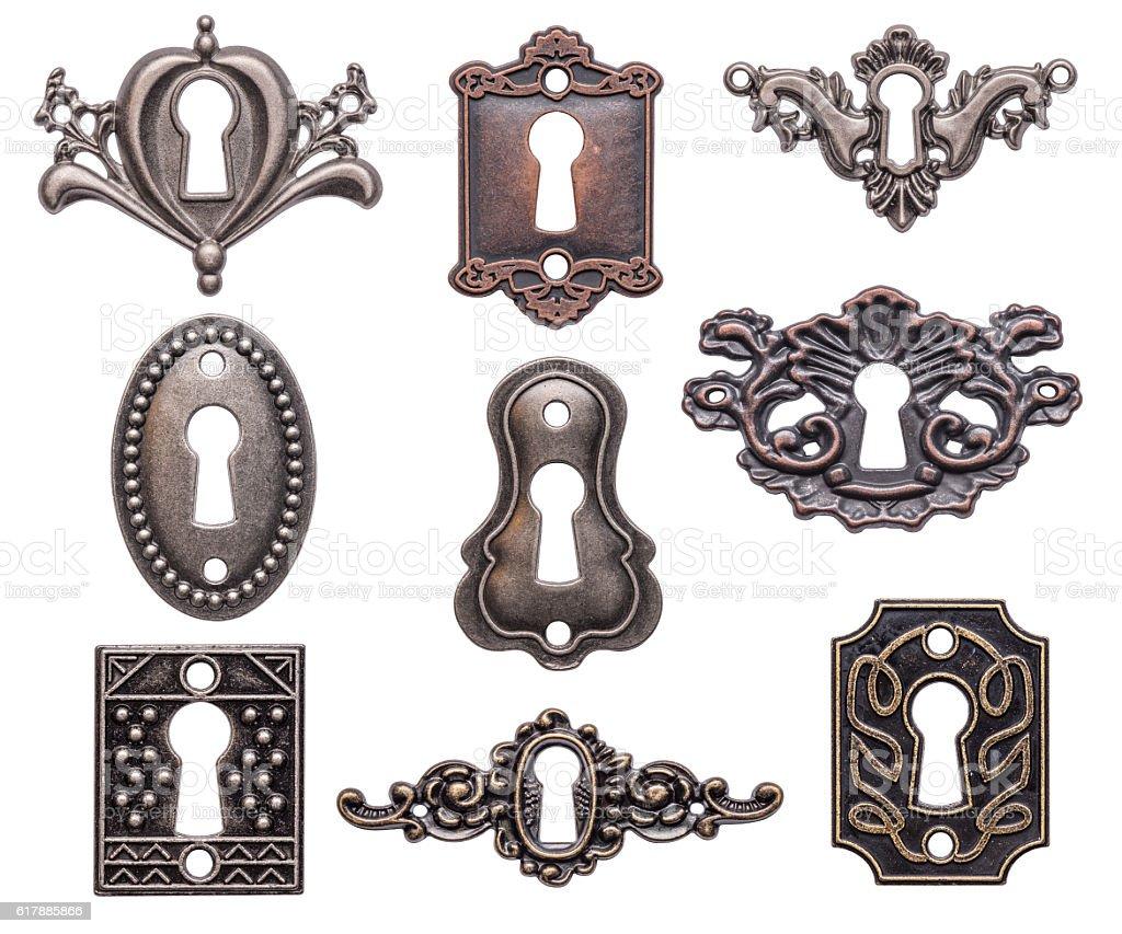 Vintage keyholes set stock photo