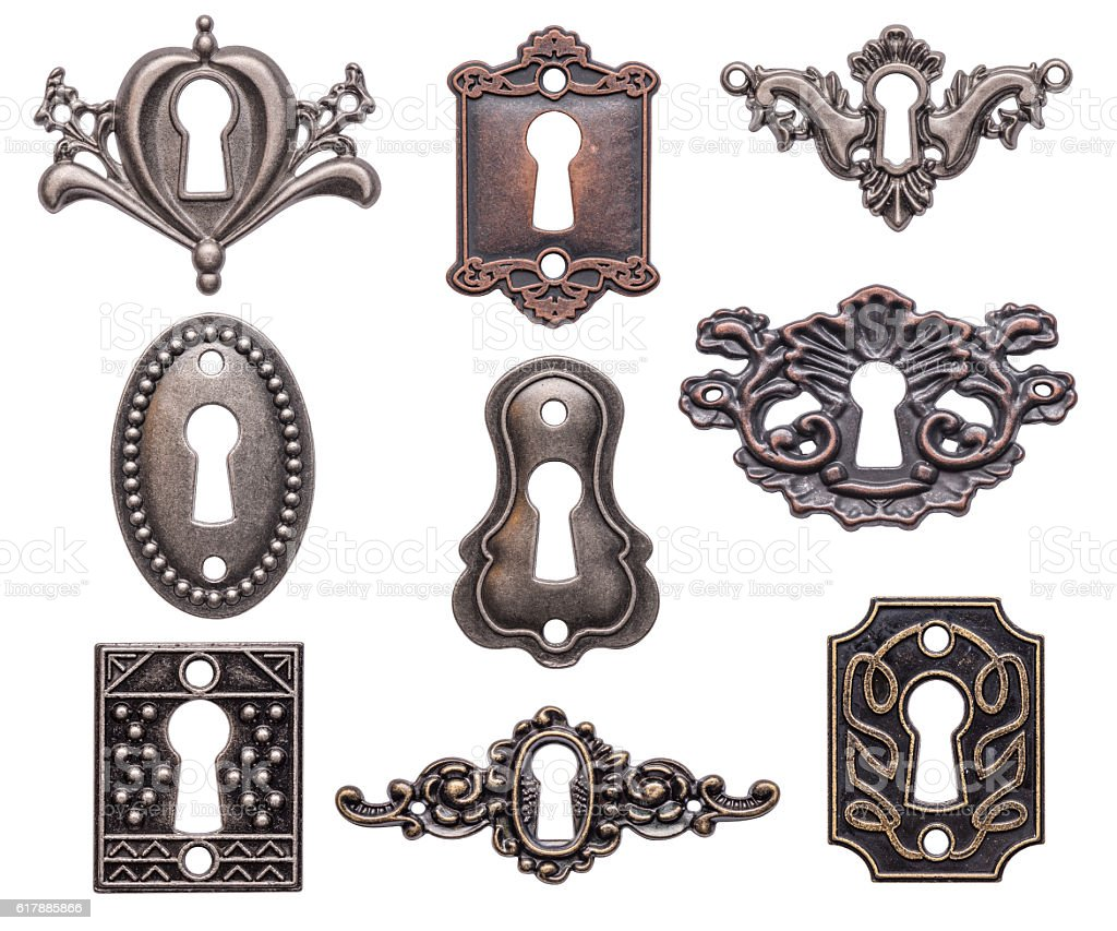 Vintage keyholes set stock photo