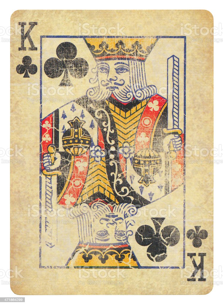Vintage King Of Clubs Isolated (clipping path included) stock photo