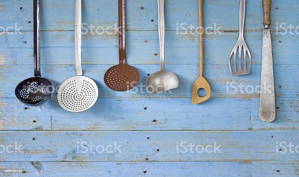 vintage kitchen utensils, free copy space stock photo