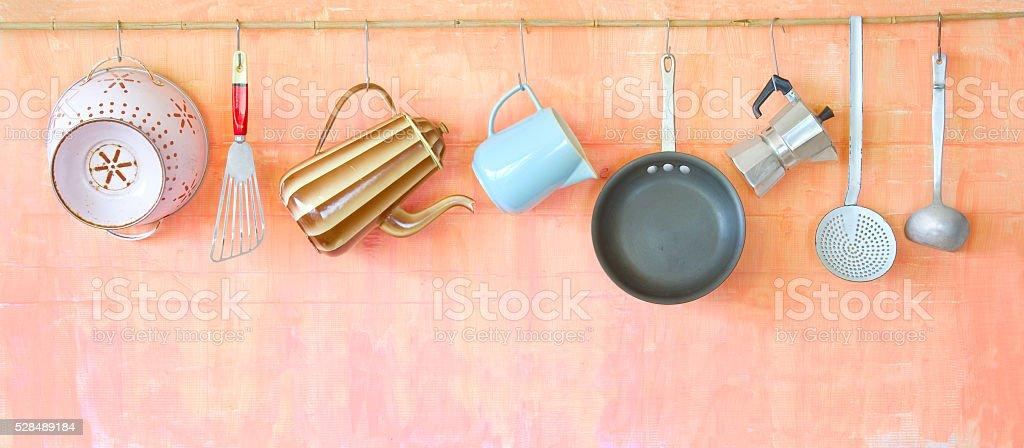 Vintage kitchen utensils stock photo