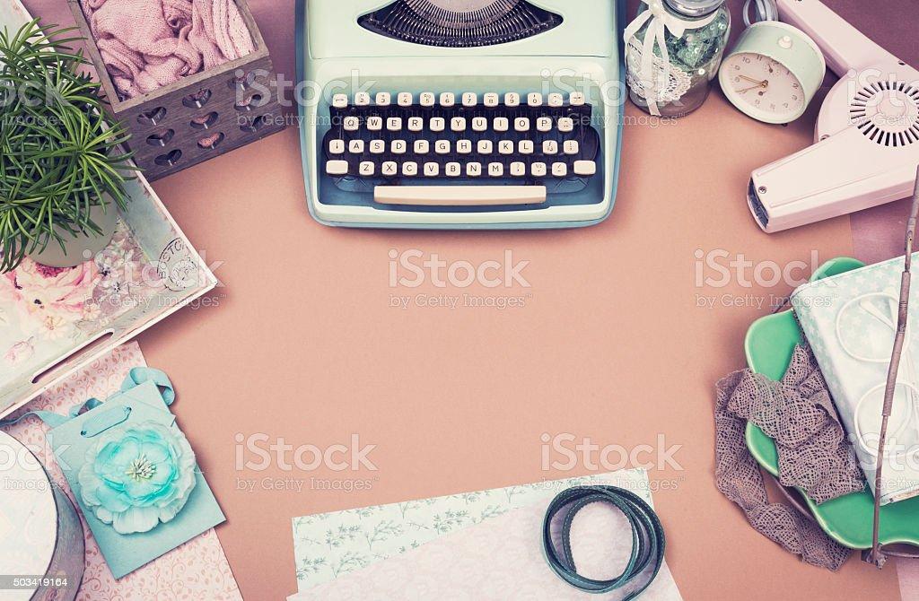 Vintage ladies desk stock photo