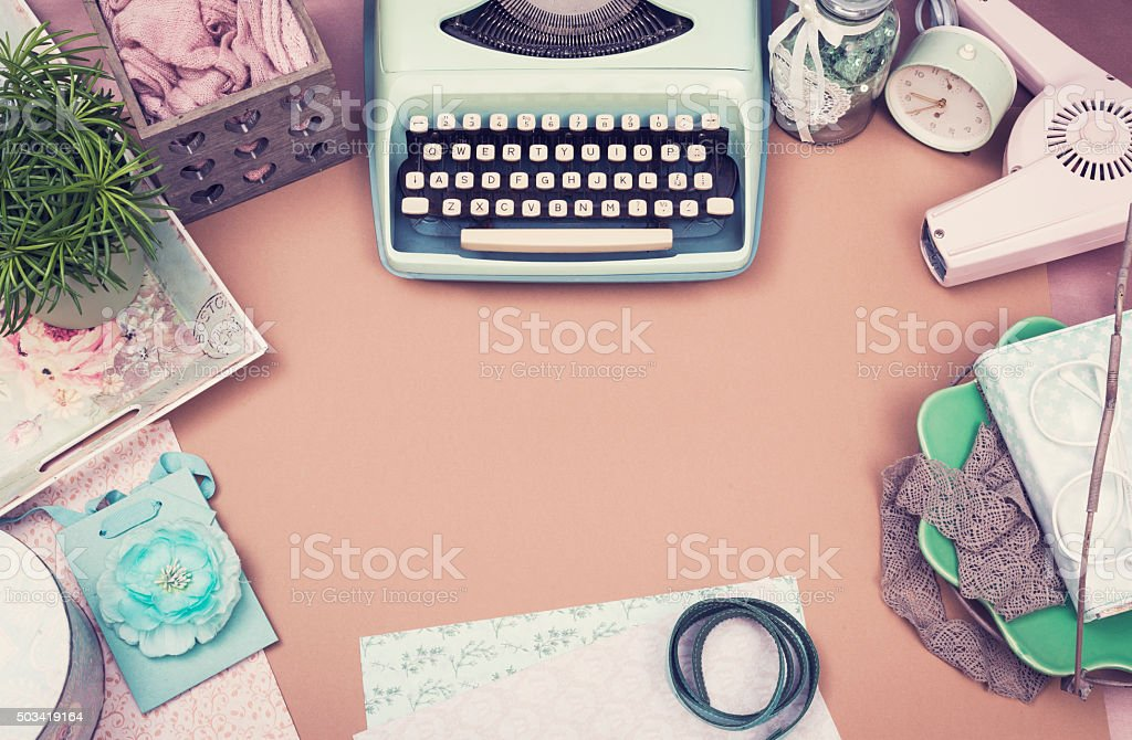 Vintage ladies desk stock photo