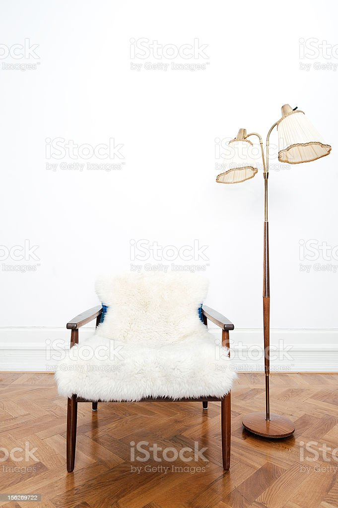 Vintage lamp and chair royalty-free stock photo