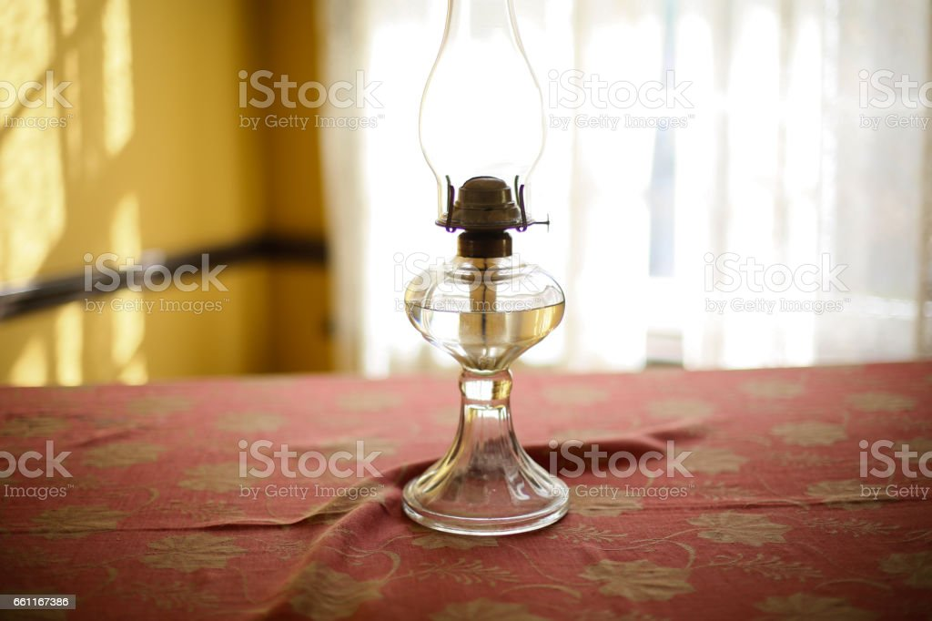 vintage lamp on the table stock photo