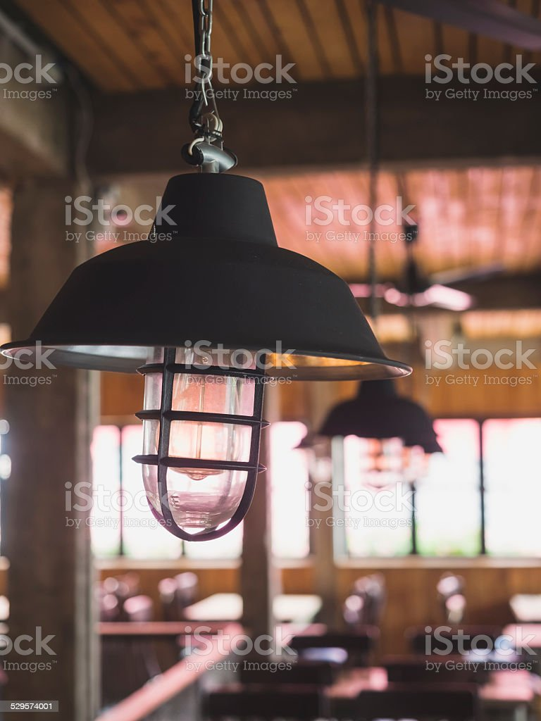Vintage lamp style with cafe interior stock photo
