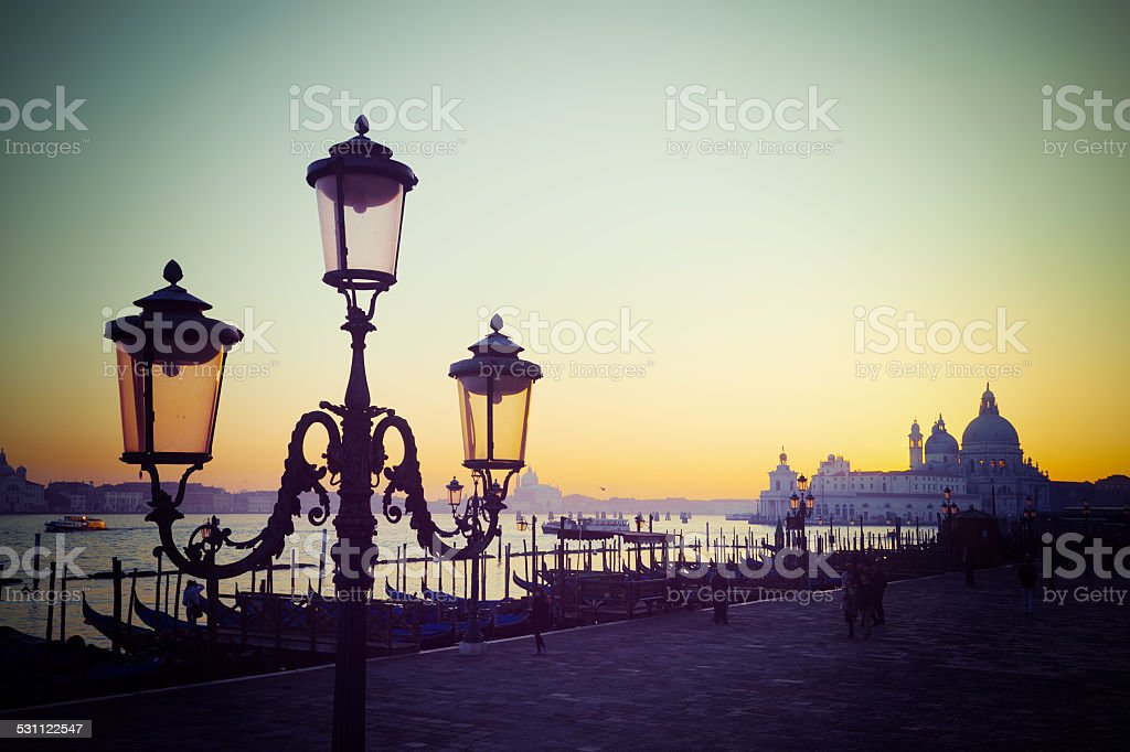 vintage lamppost in San Marco square at sunset stock photo