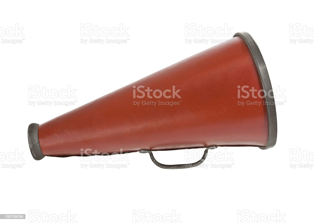 Vintage large red metal megaphone on a white background royalty-free stock photo