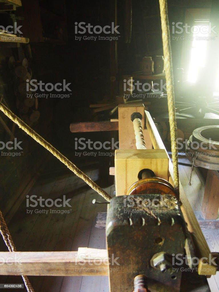 Vintage Lathe in Traditional Woodshop stock photo