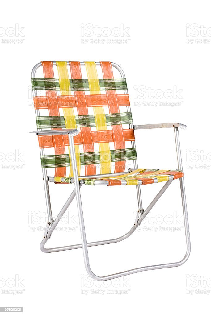Vintage Lawn Chair At Angle stock photo
