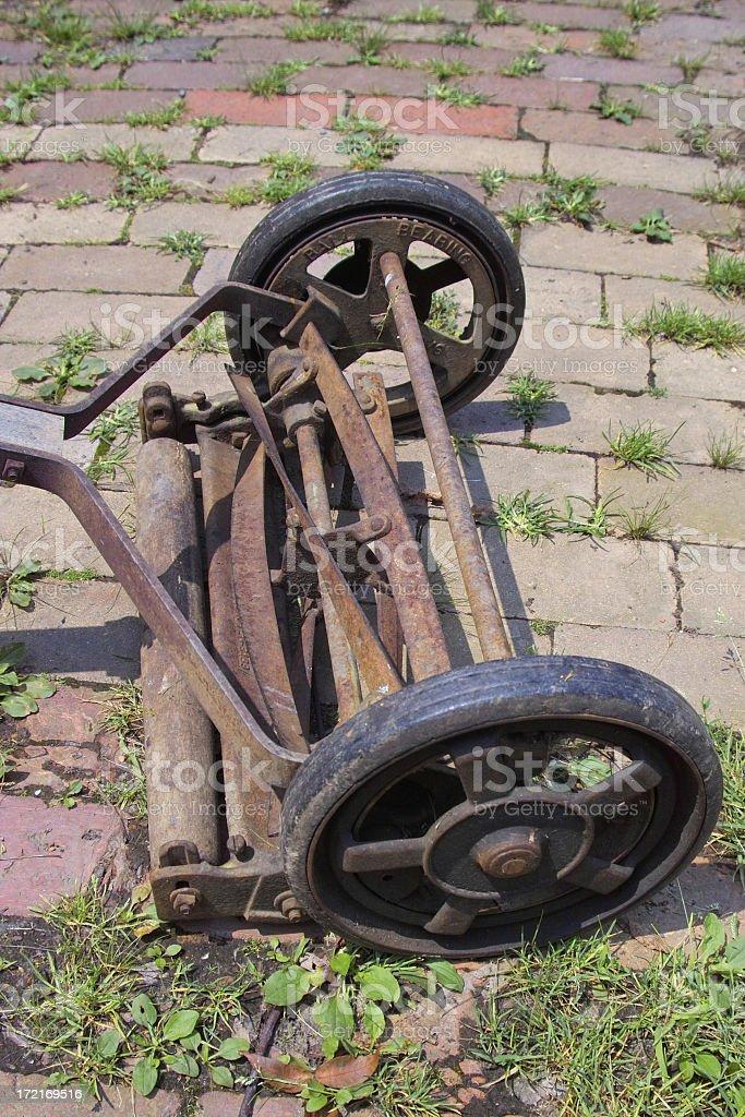 vintage lawn mower stock photo